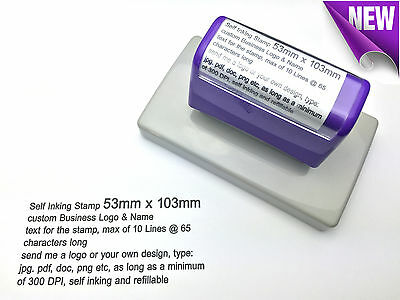 53mm x 103mm Custom Business Logo Text Rubber Flash Stamp Self Inking Refillable