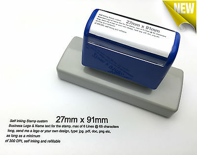 27mm x 91mm Custom Business Logo Text Rubber Flash Stamp Self Inking Refillable