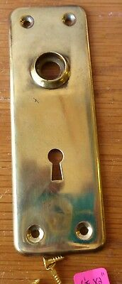 "Door Knob Back Plates (one) antique vintage stamped brass 5 3/4"" x 2"" #4"