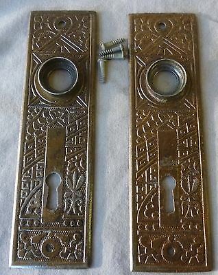 "Door knob back plates (pair) Eastlake OLD PATINA Cast Iron 5 1/2"" x 1 1/2"" #8"