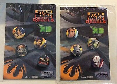 New Star Wars REBELS Disney XD Button Pin set of 8