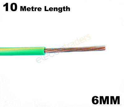 6mm Electrical Earth Wire Cable Green Yellow - 10 Metre Length