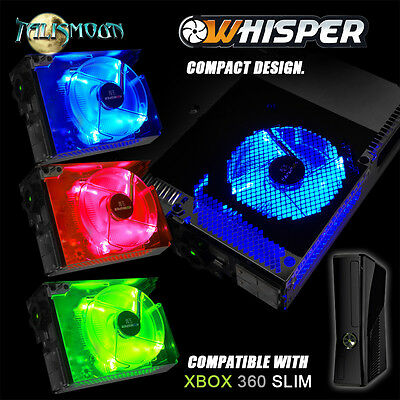 Talismoon Whisper Fan Red Blue Green for Microsoft Xbox 360 Slim Console Cooling