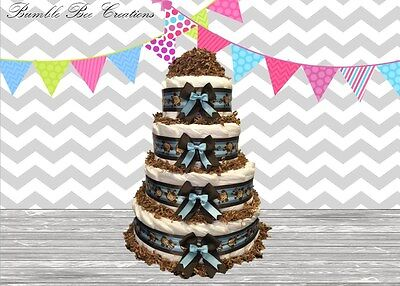 Monkey Print Blue 4 Tier Diaper Cake / Centerpiece / Baby Shower / Gift