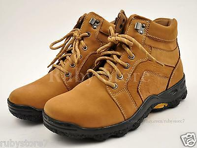 Men's Tan Hiking Winter Work Boots Shoes Genuine Leather Slip Resistant 1001