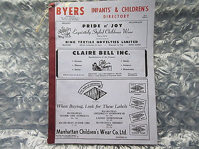 Old 1950 Byers Infants & Children's Directory Catalog Clothing Etc