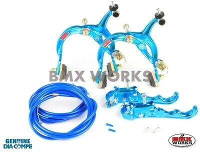 Dia-Compe MX1000 - MX120 Bright Blue Brake Set - Old Vintage School BMX