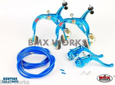 Dia-Compe MX1000 - MX123 - Tech-4 Bright Blue Brake Set - Old Vintage School BMX