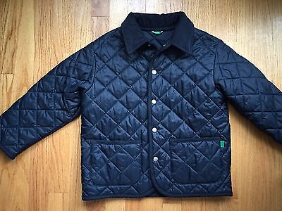 Colors Of Benetton Dark Blue Boys Quilted Coat, Size S Age 6