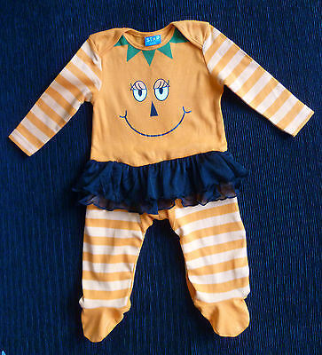 Baby clothes GIRL 3-6m Star pumpkin tutu bright orange halloween outfit babygrow