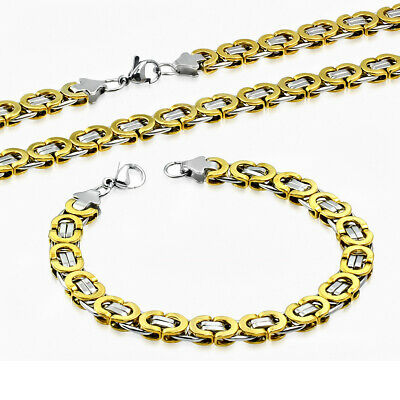 Stainless Steel Silver-Tone Yellow Gold-Tone Necklace Bracelet Mens Jewelry Set