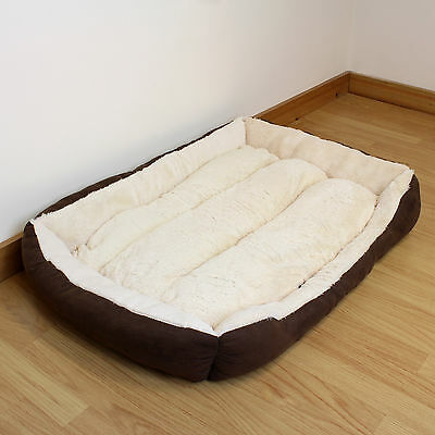 Super Soft Large Cosy Washable Dog Bed Brown & Beige Pet/Puppy/Cat/Kitten/Warm