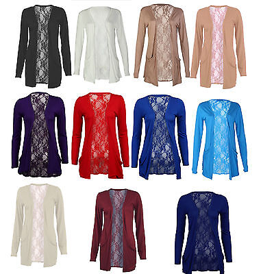 New Ladies Lace Back Open Pocket Cardigan Womens Long Sleeve Boyfriend Size 8-26