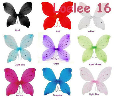"""Double Layer 18/"""" X 15/""""Glitter  Fairy Wings Butterfly Costume Tinker Bell"""