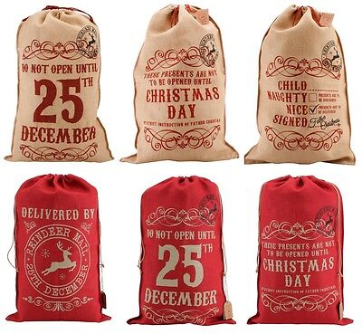 Large Vintage Hessian Christmas Santa Sack Stocking Jute Xmas Gift Bag