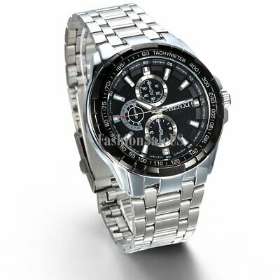 Men's Stainless Steel Band Dress Quartz Wristwatch Business Sports Casual Watch