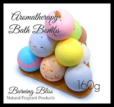 AROMATHERAPY BUBBLE BATH BOMBS with Coconut Oil, PURE,GENTLE & VEGAN 160g