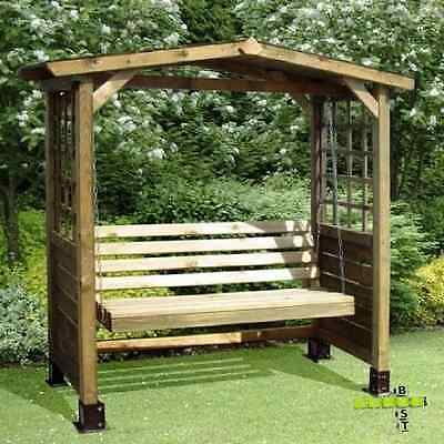 Wooden Swing Seat 2 Seater Garden Bench Seating Outdoor Hardwood Arbour Arch pc