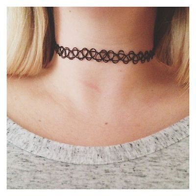 4x Tattoo Choker Stretch Necklace Black Retro 90s Vintage Elastic Gothic UK Boho
