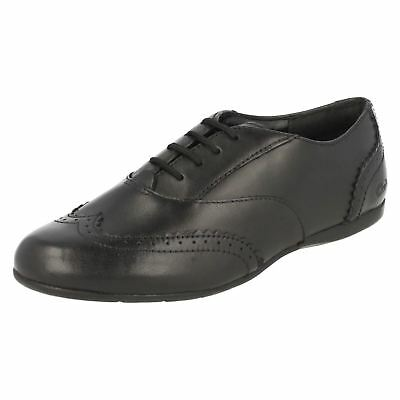Girls F & G & H Fit Dance Honey black leather brogue style shoe by Clarks £19.99