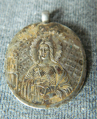 Antique Imperial Russian Orthodox Goldplated Silver 84 Jeton Pendant St.Barbara