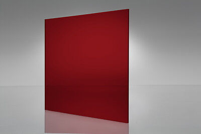 "Red Transparent Acrylic Plexiglass sheet 1/16"" x 12"" x 12"" #2423"