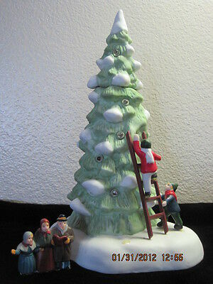Dept 56 - Lot 2: Dickens Lighted Tree W/children-Ladder + Heritage Village Sign