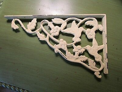 "Cast Iron Shelf Bracket - White - Hummingbirds - Nice! - 12"" wide"