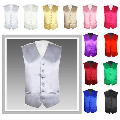 "New Mens Groom Wedding Waistcoat Size 36""-48"" Chest Available 13 Colors UK"