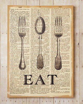 New Primitive French Country Shabby FORK SPOON EAT Pantry Burlap Picture  Sign