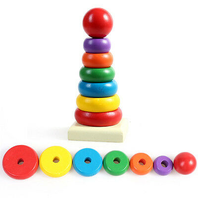 Baby Toddler Kid Wooden Stack Up Play Toys Stacking Ring Tower Educational Toy