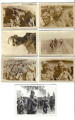 Lot Of 7 Original Photos Of Russian Soldiers Taken Prisoner By The Germans WW2