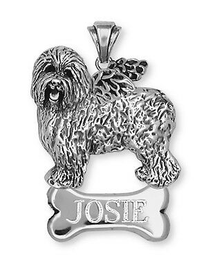 Personalized  Silver Old English Sheepdog Angel Charm Jewelry OE1A-NP