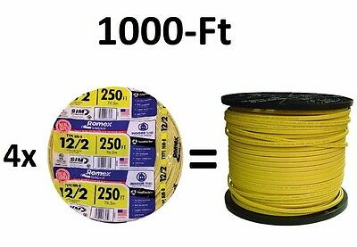 1000-Ft. (4x 250-Feet Rolls) 12-2 NM-B AWG Gauge Copper-Wire Cable Romex Indoor