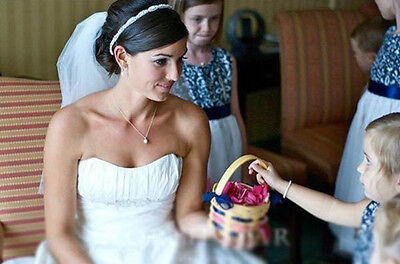 White Satin Ribbon Crystal Beaded Headband Hair Band Headpiece Wedding Party