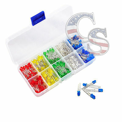 200 pcs 3mm 5mm LED Light White Yellow Red Green Assorted Assortment Kit DIY Set
