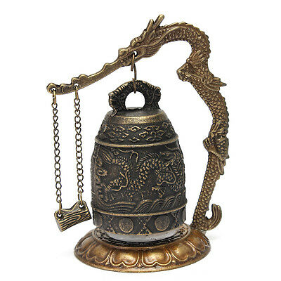 Excellent Chinese Tibet Brass Alloy Dragon Buddha Bell Chime Decor 13.5 x 9.5cm