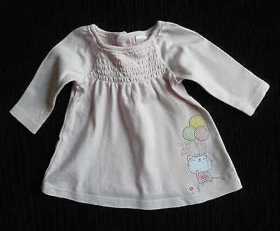 Baby clothes GIRL newborn 0-1m long sleeve brushed cotton smocked cat dress