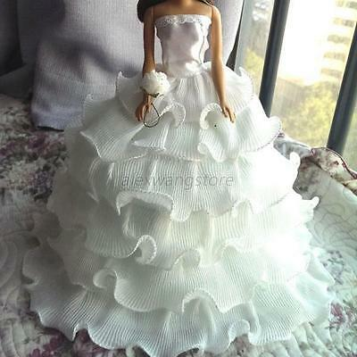New Handmade White Bridal Gown Dresses Clothes for Barbie Doll Wedding Party A35