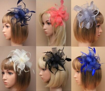 Ribbon Fascinator Flower Feathers Hair Comb for Wedding Ascot Races Bridesmaids