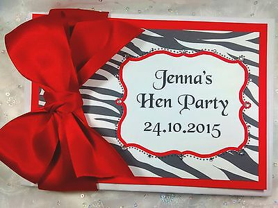 Personalised Bride To Be Hen Night Guest Book Wedding  Zebra