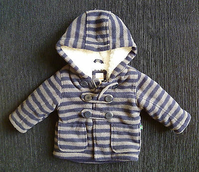 Baby clothes BOY 3-6m Blue Zoo grey/navy blu fleece coat hood soft fleece lining