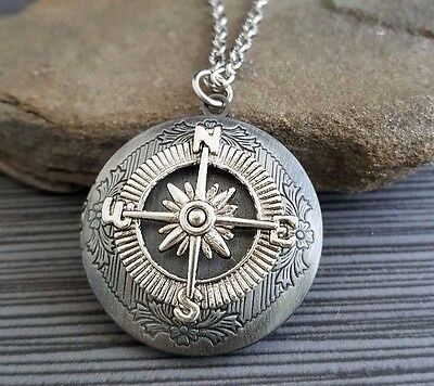 Handmade Oxidized Silver Compass Rose Locket Necklace