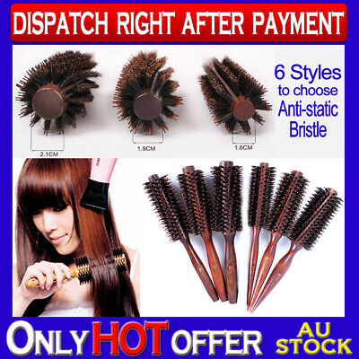 New Professional Round Boar Bristle Hair Brush Comb Wooden Handle Anti-static