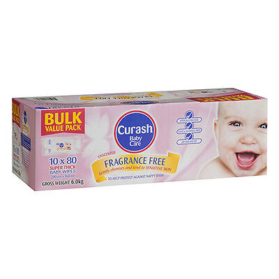 NEW Curash Nappies Wipes Fragrance Free Wipes Bulk Soft Strong Gentle 10 X 80Pk