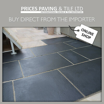 PREMIUM Natural Black Limestone 15.2m2 Indian Stone Large Patio Paving Pack.