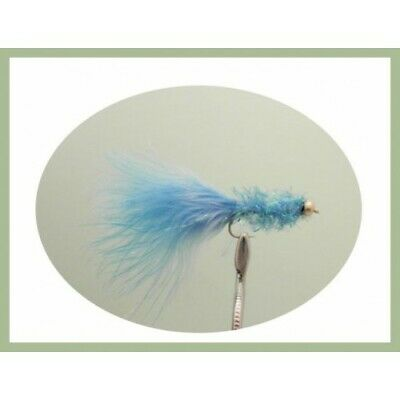 Trout Flies, Lures, 6 Gold head Blue Fritz Size 10 , For Fly Fishing