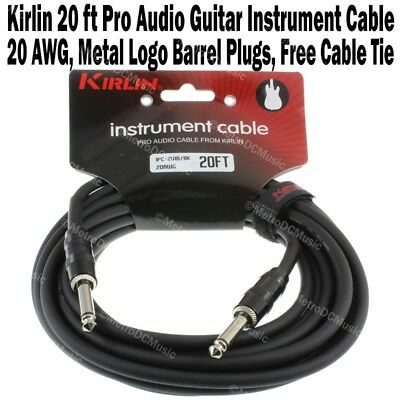 """Kirlin 20 ft Guitar Instrument Cable 1/4"""" +Free Cable Tie Patch Cord 20AWG NEW"""