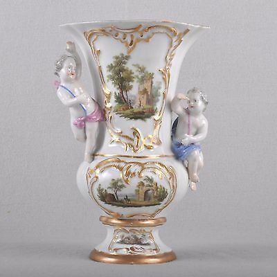 Meissen Vase mit Putti & Landscape painting, First Quality, 23 cm, um 1800, RAR
