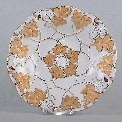 Meissen Punk plate/Ceremonial bowl,28 cm,Wine leaves Vine matte and Bright gold
